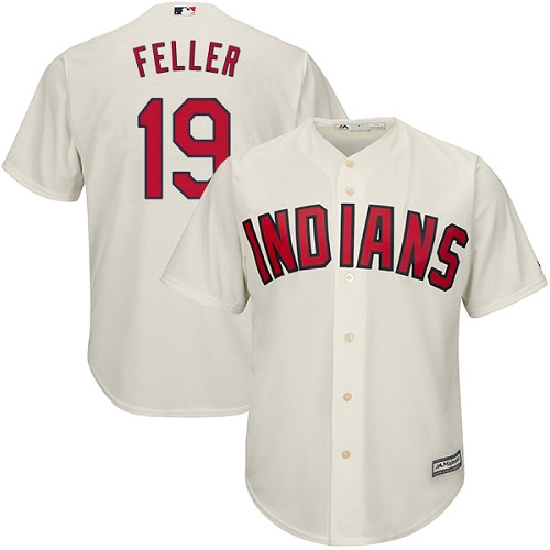 Men's Majestic Cleveland Indians #19 Bob Feller Replica Cream Alternate 2 Cool Base MLB Jersey