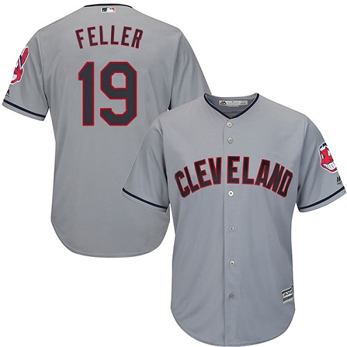 Men's Majestic Cleveland Indians #19 Bob Feller Replica Grey Road Cool Base MLB Jersey