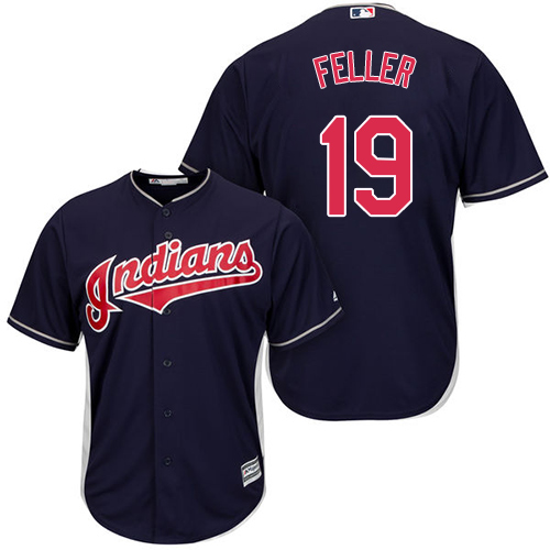 Men's Majestic Cleveland Indians #19 Bob Feller Replica Navy Blue Alternate 1 Cool Base MLB Jersey