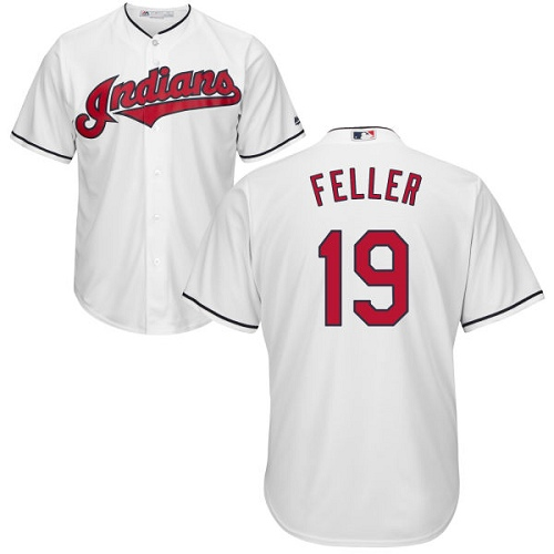 Men's Majestic Cleveland Indians #19 Bob Feller Replica White Home Cool Base MLB Jersey
