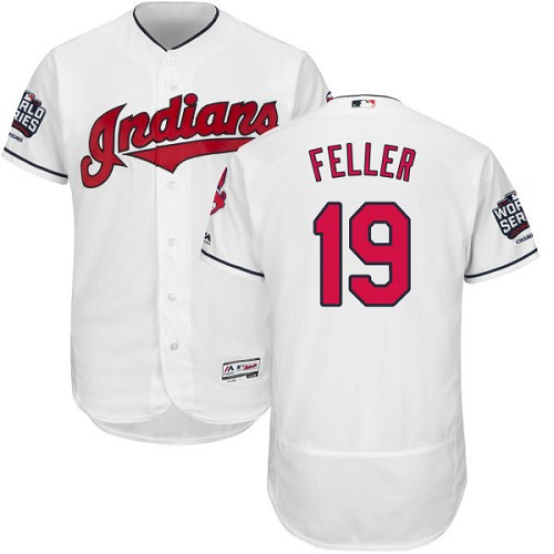 Men's Majestic Cleveland Indians #19 Bob Feller White 2016 World Series Bound Flexbase Authentic Collection MLB Jersey