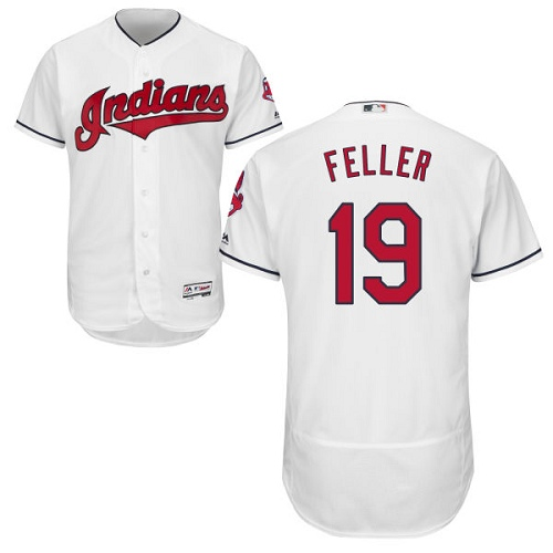 Men's Majestic Cleveland Indians #19 Bob Feller White Home Flex Base Authentic Collection MLB Jersey