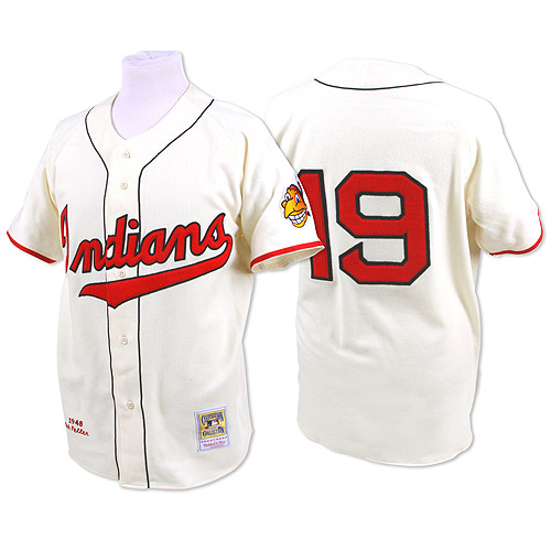Men's Mitchell and Ness 1948 Cleveland Indians #19 Bob Feller Replica Cream Throwback MLB Jersey