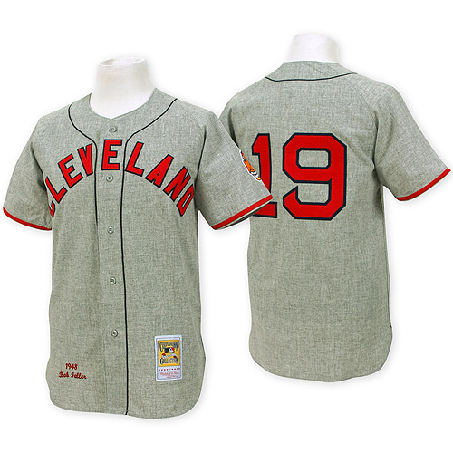 Men's Mitchell and Ness Cleveland Indians #19 Bob Feller Authentic Grey Throwback MLB Jersey