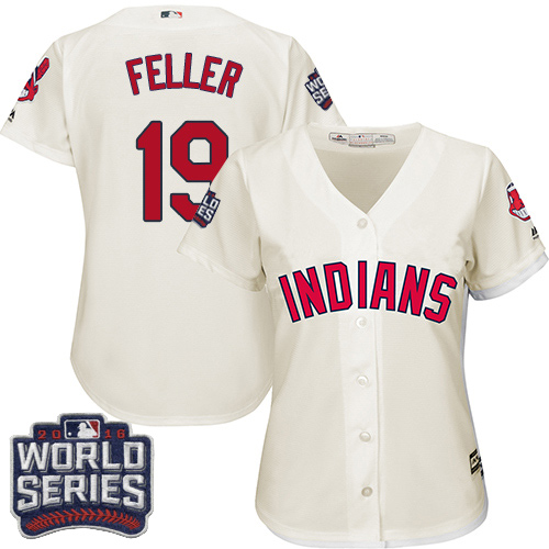 Women's Majestic Cleveland Indians #19 Bob Feller Authentic Cream Alternate 2 2016 World Series Bound Cool Base MLB Jersey