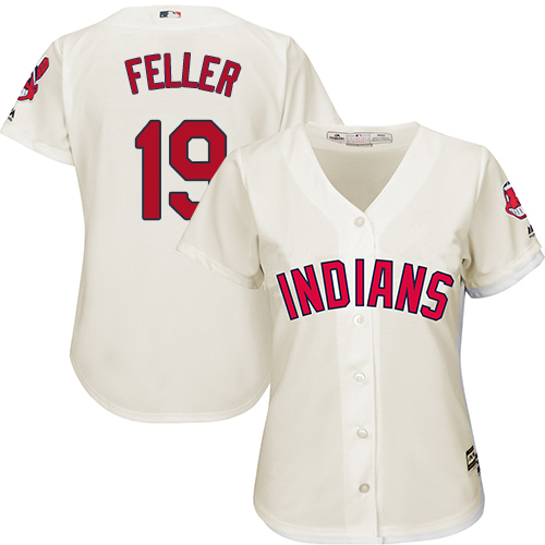 Women's Majestic Cleveland Indians #19 Bob Feller Authentic Cream Alternate 2 Cool Base MLB Jersey