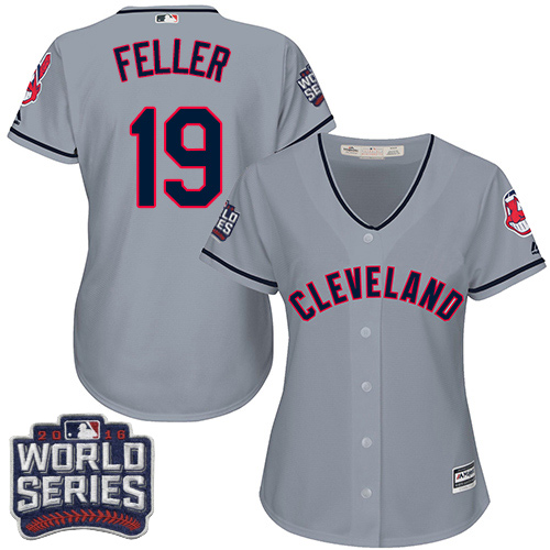 Women's Majestic Cleveland Indians #19 Bob Feller Authentic Grey Road 2016 World Series Bound Cool Base MLB Jersey