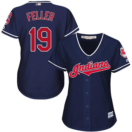 Women's Majestic Cleveland Indians #19 Bob Feller Authentic Navy Blue Alternate 1 Cool Base MLB Jersey