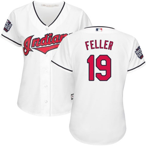 Women's Majestic Cleveland Indians #19 Bob Feller Authentic White Home 2016 World Series Bound Cool Base MLB Jersey