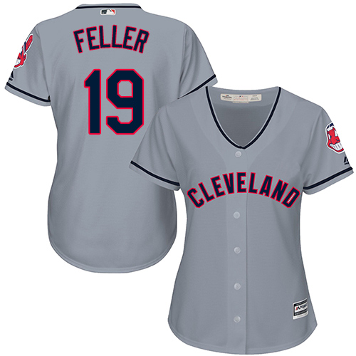 Women's Majestic Cleveland Indians #19 Bob Feller Replica Grey Road Cool Base MLB Jersey