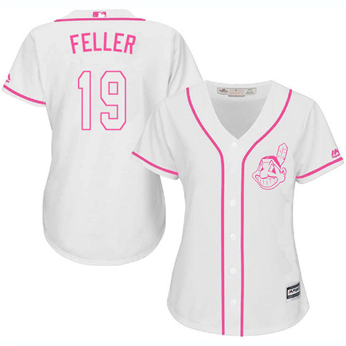 Women's Majestic Cleveland Indians #19 Bob Feller Replica White Fashion Cool Base MLB Jersey