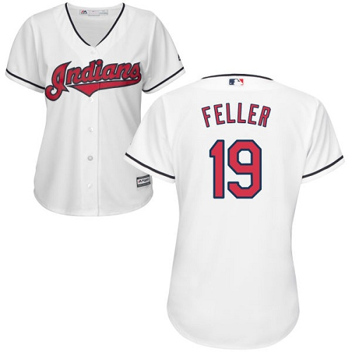 Women's Majestic Cleveland Indians #19 Bob Feller Replica White Home Cool Base MLB Jersey