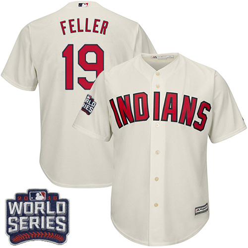Youth Majestic Cleveland Indians #19 Bob Feller Authentic Cream Alternate 2 2016 World Series Bound Cool Base MLB Jersey