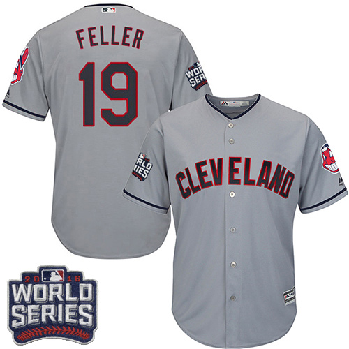 Youth Majestic Cleveland Indians #19 Bob Feller Authentic Grey Road 2016 World Series Bound Cool Base MLB Jersey