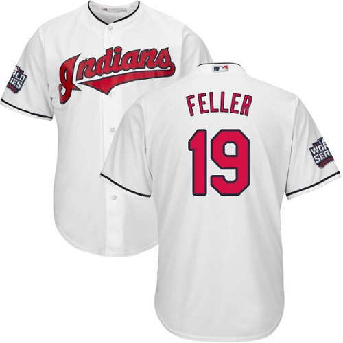 Youth Majestic Cleveland Indians #19 Bob Feller Authentic White Home 2016 World Series Bound Cool Base MLB Jersey