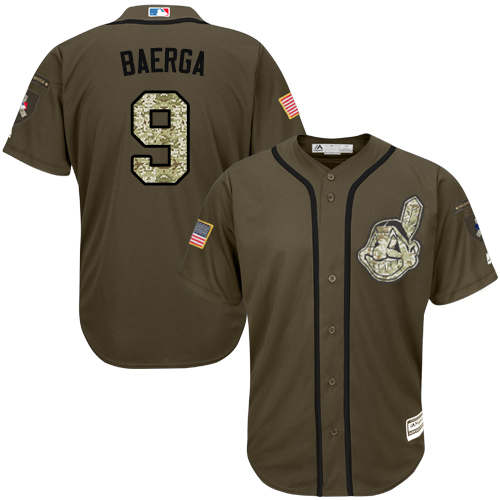 Men's Majestic Cleveland Indians #9 Carlos Baerga Authentic Green Salute to Service MLB Jersey