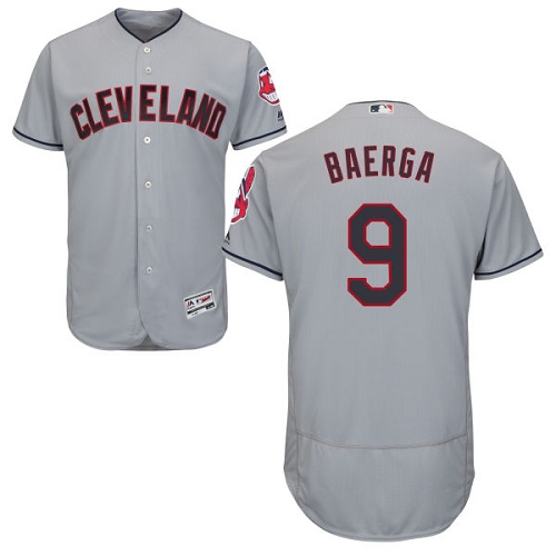 Men's Majestic Cleveland Indians #9 Carlos Baerga Grey Flexbase Authentic Collection MLB Jersey