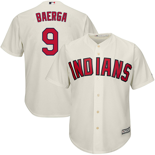 Men's Majestic Cleveland Indians #9 Carlos Baerga Replica Cream Alternate 2 Cool Base MLB Jersey