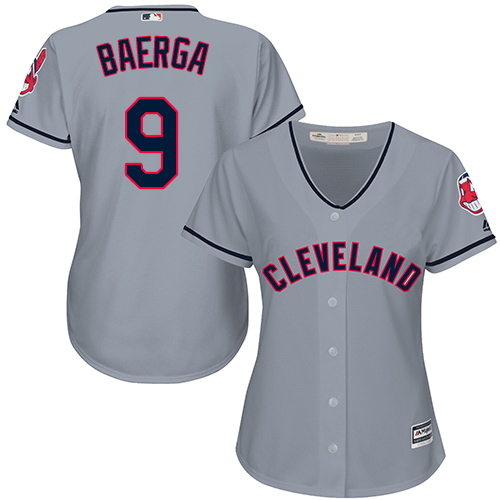 Women's Majestic Cleveland Indians #9 Carlos Baerga Replica Grey Road Cool Base MLB Jersey
