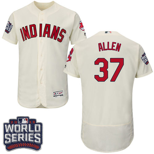Men's Majestic Cleveland Indians #37 Cody Allen Cream 2016 World Series Bound Flexbase Authentic Collection MLB Jersey