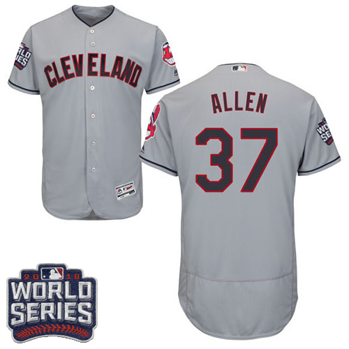 Men's Majestic Cleveland Indians #37 Cody Allen Grey 2016 World Series Bound Flexbase Authentic Collection MLB Jersey