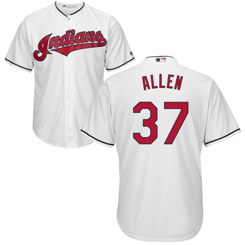 Men's Majestic Cleveland Indians #37 Cody Allen Replica White Home Cool Base MLB Jersey
