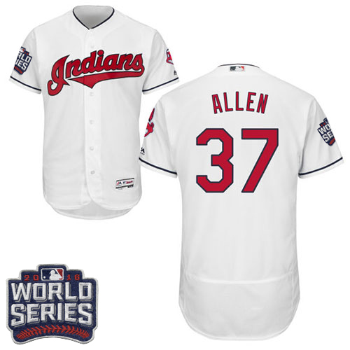 Men's Majestic Cleveland Indians #37 Cody Allen White 2016 World Series Bound Flexbase Authentic Collection MLB Jersey