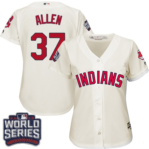Women's Majestic Cleveland Indians #37 Cody Allen Authentic Cream Alternate 2 2016 World Series Bound Cool Base MLB Jersey