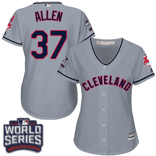 Women's Majestic Cleveland Indians #37 Cody Allen Authentic Grey Road 2016 World Series Bound Cool Base MLB Jersey