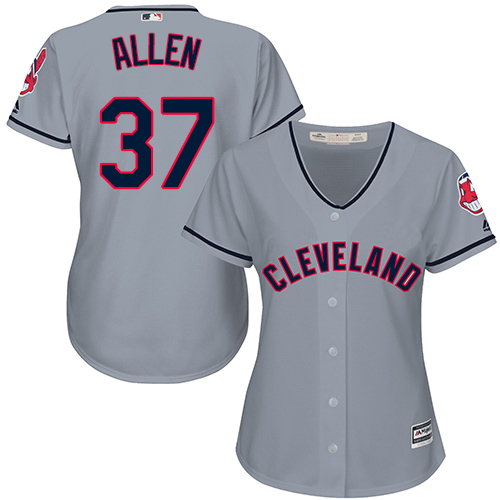 Women's Majestic Cleveland Indians #37 Cody Allen Authentic Grey Road Cool Base MLB Jersey