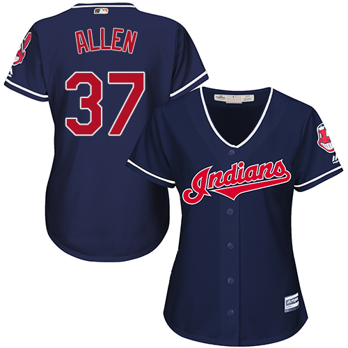 Women's Majestic Cleveland Indians #37 Cody Allen Authentic Navy Blue Alternate 1 Cool Base MLB Jersey