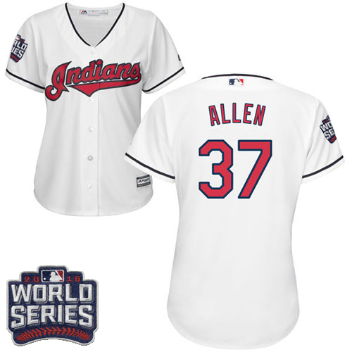 Women's Majestic Cleveland Indians #37 Cody Allen Authentic White Home 2016 World Series Bound Cool Base MLB Jersey