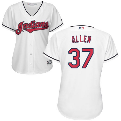 Women's Majestic Cleveland Indians #37 Cody Allen Authentic White Home Cool Base MLB Jersey