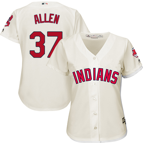 Women's Majestic Cleveland Indians #37 Cody Allen Replica Cream Alternate 2 Cool Base MLB Jersey