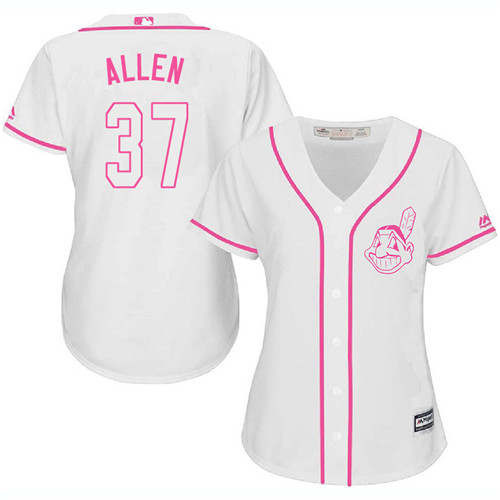 Women's Majestic Cleveland Indians #37 Cody Allen Replica White Fashion Cool Base MLB Jersey