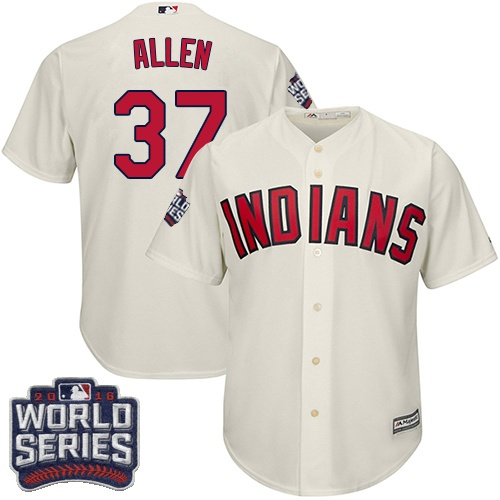 Youth Majestic Cleveland Indians #37 Cody Allen Authentic Cream Alternate 2 2016 World Series Bound Cool Base MLB Jersey