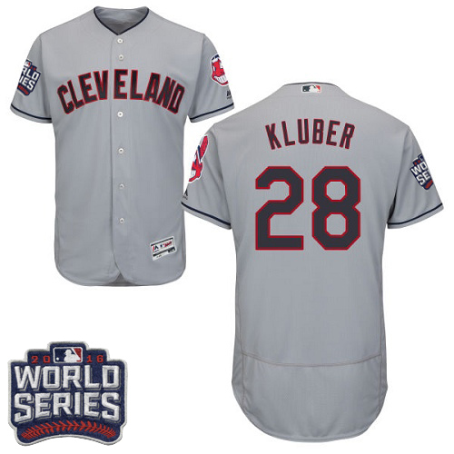 Men's Majestic Cleveland Indians #28 Corey Kluber Grey 2016 World Series Bound Flexbase Authentic Collection MLB Jersey