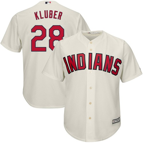 Men's Majestic Cleveland Indians #28 Corey Kluber Replica Cream Alternate 2 Cool Base MLB Jersey