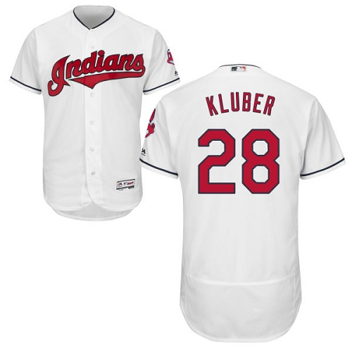 Men's Majestic Cleveland Indians #28 Corey Kluber White Home Flex Base Authentic Collection MLB Jersey