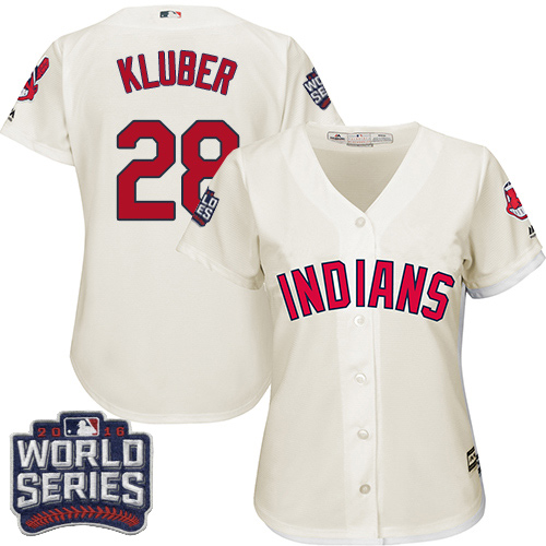 Women's Majestic Cleveland Indians #28 Corey Kluber Authentic Cream Alternate 2 2016 World Series Bound Cool Base MLB Jersey