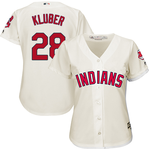 Women's Majestic Cleveland Indians #28 Corey Kluber Authentic Cream Alternate 2 Cool Base MLB Jersey