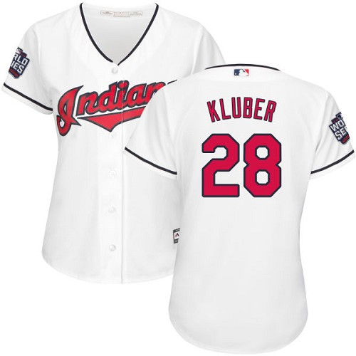 Women's Majestic Cleveland Indians #28 Corey Kluber Authentic White Home 2016 World Series Bound Cool Base MLB Jersey