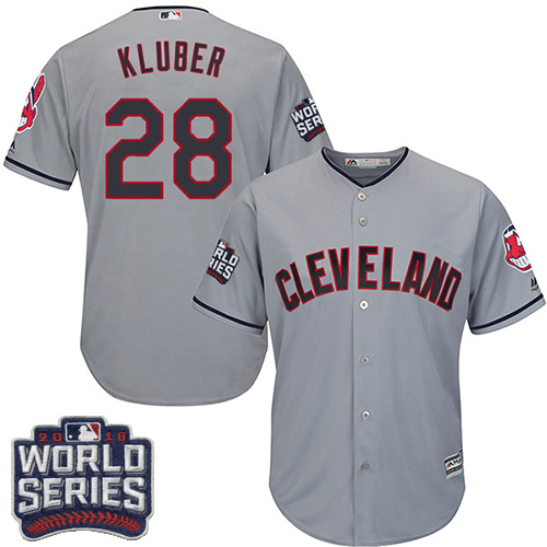 Youth Majestic Cleveland Indians #28 Corey Kluber Authentic Grey Road 2016 World Series Bound Cool Base MLB Jersey