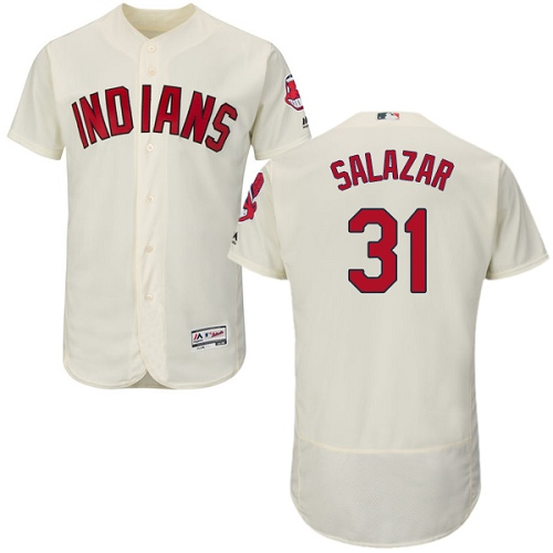 Men's Majestic Cleveland Indians #31 Danny Salazar Cream Alternate Flex Base Authentic Collection MLB Jersey