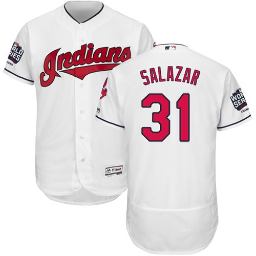 Men's Majestic Cleveland Indians #31 Danny Salazar White 2016 World Series Bound Flexbase Authentic Collection MLB Jersey