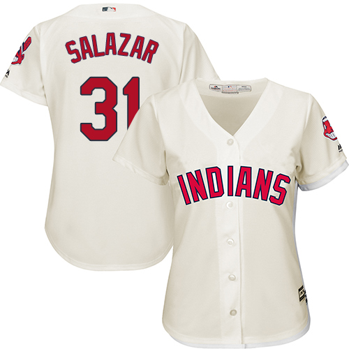 Women's Majestic Cleveland Indians #31 Danny Salazar Replica Cream Alternate 2 Cool Base MLB Jersey