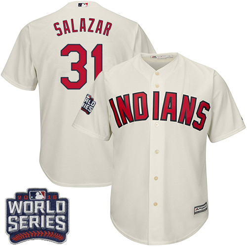 Youth Majestic Cleveland Indians #31 Danny Salazar Authentic Cream Alternate 2 2016 World Series Bound Cool Base MLB Jersey