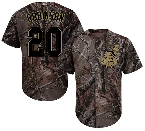 Men's Majestic Cleveland Indians #20 Eddie Robinson Authentic Camo Realtree Collection Flex Base MLB Jersey