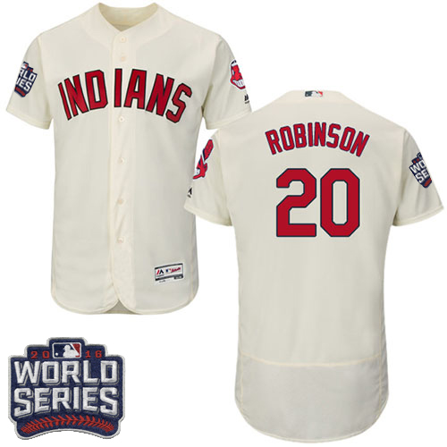 Men's Majestic Cleveland Indians #20 Eddie Robinson Cream 2016 World Series Bound Flexbase Authentic Collection MLB Jersey