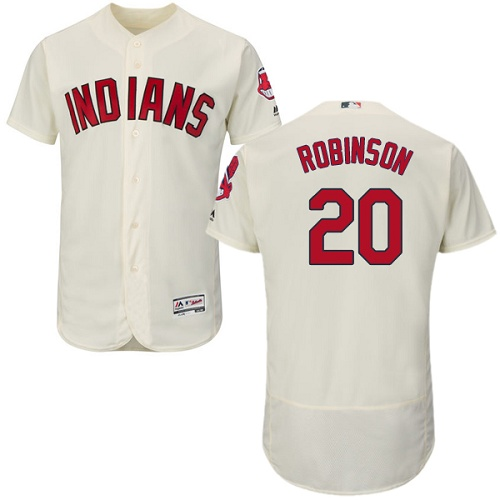 Men's Majestic Cleveland Indians #20 Eddie Robinson Cream Flexbase Authentic Collection MLB Jersey